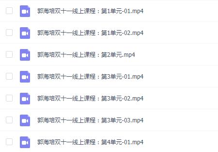 郭海培2020年双十一线上课程